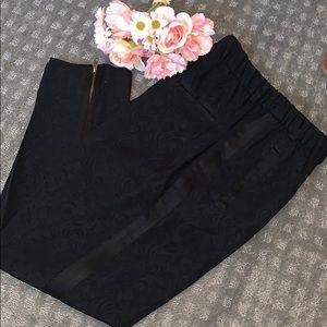 Zara black pattern elastic waistband pants